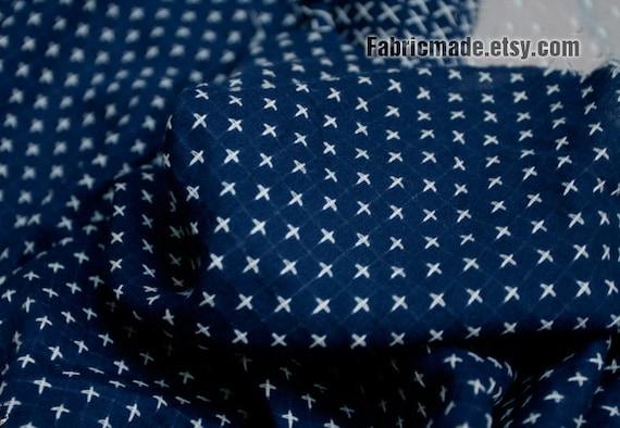 Small Cross Cotton Fabric - Navy Blue Cotton White Jacquard Cross Geometric Cotton - 1/2 Yard