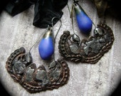 Cobalt, The Ancient Hoard Series, handmade artisan earring, mixed metal jewelry, rustic primitive, rocker, filigree earrings, AnvilArtifacts