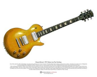 Duane Allman's 1957 Gibson Les Paul Goldtop ART POSTER A3 size
