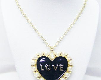 "Large Gold Plated/Black Enamel /Cream Pearl Heart ""LOVE"" Pendant Necklace"