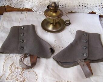 Antique Wool Felt Spats. Antique Gray Spats. Antique Spats. Boot Covers. Old Spats.Boot Spats.Antique Accessories. Antique Clothes. Spats.