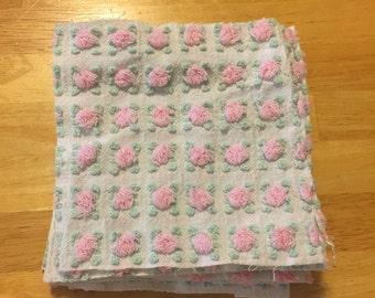 "Vintage Morgan Jones Rosebud Chenille Bedspread 12 6"" Squares"