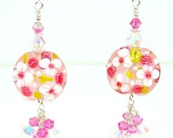 Lampwork Flower Earrings, Glass Flower Earrings, Pink and White, Dangle Glass Earrings, Boho Earrings, Cottage Chic, Pink Earrings