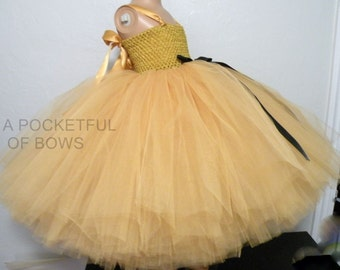 Flower Girl Dress Gold, Ball Gown Tulle Skirt