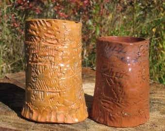 Set of 2 Textured Hand Built Cups
