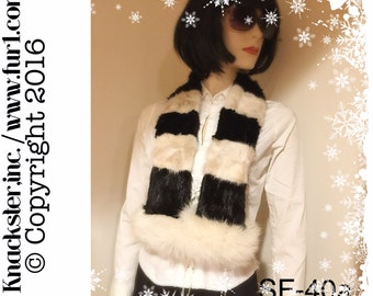 SF-40 White Black Mink Arctic White Fox Fur Scarf Wrap Boa 45""