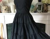 50s Charcoal Black Dot Cotton Summer Dress
