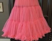 Vintage Layered Tiered and Ruffled Nylon Hot Pink Petticoat slip