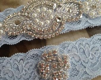 Wedding Garter-Garters-Stretch lace-SALE-blue garter-Garter-Rhinestone-Pearl garter-Keepsake-Something Blue-Lace Garter-bridal garter-ivory