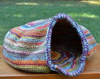 Crochet Cat Cave Nest Pet Bed Large Multi Color Rainbow Handmade Littlestsister