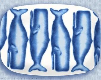 whales, azure blue whale melamine platter