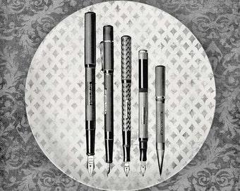Vintage Writing Pens melamine plate