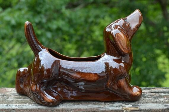 Mid Century Japan Brown Dachshund Planter Wiener Dog Ceramic