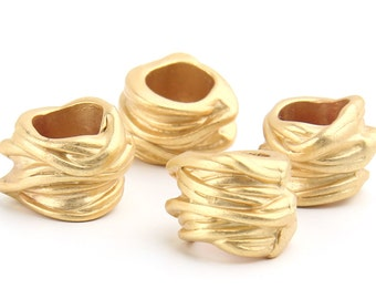 Gold Plated Large Hole Slider Beads, 4 pieces // GB-140
