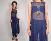 25% OFF 90's Sheer Blue Maxi Dress vinatge