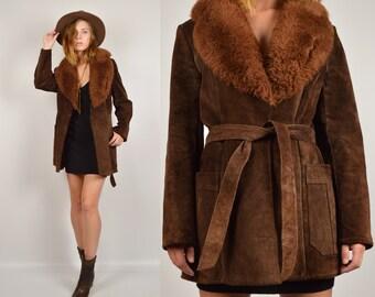 70's Suede Coat Faux Fur Collar