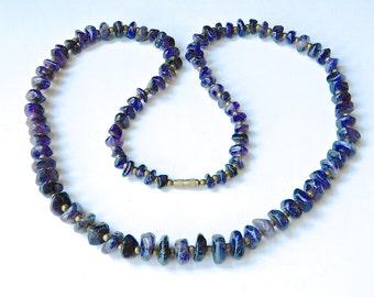 "Vintage 1970s Amethyst Bead Necklace Dark Natural Tumbled Stones 28"""