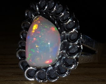 Awesome Colorful 4ct Ethiopian Fire Opal Handmade 925 Solid Sterling Silver Ring Size 7 Free Shipping And 10% Off At Checkout
