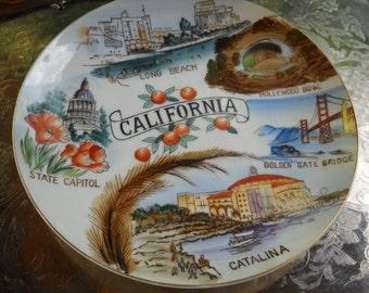 California Plate, Vintage Souvenir, Catalina, Golden Gate Bridge, More Sites