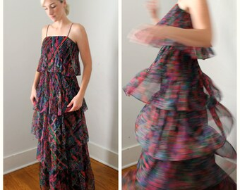 Vintage Tiered Boho Hippie Maxi Dress in Black Floral by The Gilberts for Tally 1970s