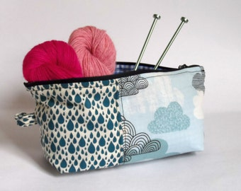Clouds and Raindrops Blue Pouch Case Project Bag
