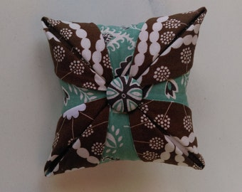 Pincushion/Cathedral Window/ Folded Star/ Handmade Pincushion/Turquoise Green and Brown Paisley, Brown Cream Print