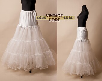 White bridal tulle petticoat / Full length tulle underskirt / Long crinoline petticoat /  Four layered very full petticoat / size small