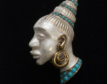 Rare Pearly White Blackamoor Brooch Turquoise Articulated Nubian Princess