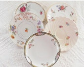 On Sale Vintage Shabby Romance Mismatched Saucers, Set of 5, Wedding, Cottage Style, Tea Cups, Vintage, Housewarming Gift Inspired