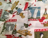 "Large Vintage Fabric, Travel Theme, 90"" x 36"""