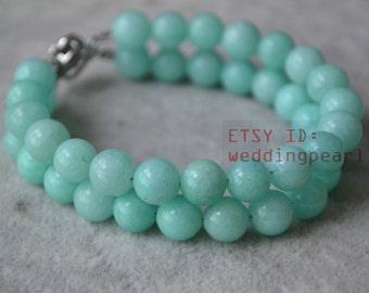 mint blue bracelet, 2 rows 8mm round jade bracelet, wedding bracelet, Christmas present gift, mint blue jade bracelet,bridesmaid jewelry