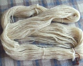 Hand Spun Local Long Wool Blend Singles Yarn, natural creamy white, 3.5 ozs (100 gms), Chunky weight. domestic wool, natural, un-dyed