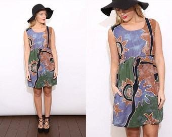 Vintage 90s Boho Batik Print Summer Sleeveless Dress. Medium.