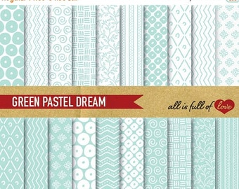 80% OFF Digital Scrapbooking Paper Pack MINT GREEN Pattern Background Baptism papers