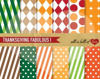 Fall Digital Paper Pack Autumn Patterns Thanksgiving Scrapbook Paper Digital Background Patterns Digital Scrapbooking Commercial Use