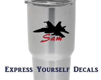 Fighter Plane Personalized Army, Navy, Military Yeti Tumbler Tervis Decal