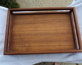 Wooden tray/ Solid teak wood/ labeled on bottom/ handled edge