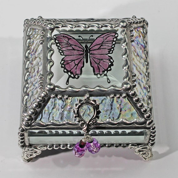 Etched Butterfly Lavender Hand Painted Glass Jewelry Box Hand crafted, Gift Box