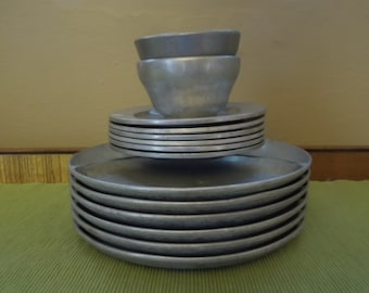Vintage Pewter Bon Chef Fondue Dishes Set of Six Plates
