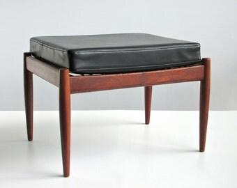 Mid Century Danish Modern Teak Ottoman Footstool / Kai Kristiansen Magnus Olesen / Model 121 Paper Knife / Original Black Vinyl Cushion