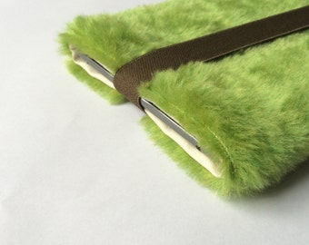 """fake fur iPad mini sleeve, ipad mini case, faux fur """"creamy green"""""""
