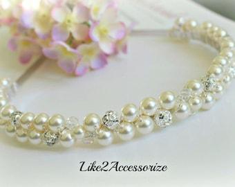 Double Strand Swarovski Pearl White Ivory Pearl Headband, Bridal Tiara, Wedding Accessories, Bridal Hair Piece, Rhinestone, Wedding Headband