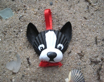 Boston Terrier Ornament. Hand-painted seashell Boston Terrier ornament. Cape Cod, Beach, dog art.