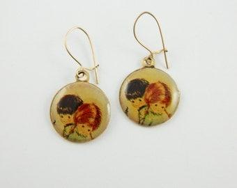 70s Folk Art Earrings - Boy and Girl - OE018