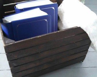 up cycled wood box rolling storage crate box