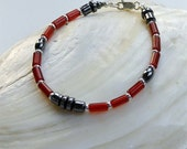Reserved- Red Agate And Hematite Mens Beaded Bracelet, Sterling Silver