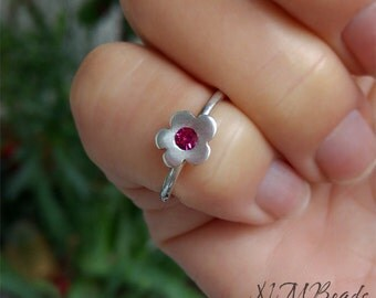 Fun Flower Kids Ring With Pink Swarovski Sterling Silver Girls Flower Ring Girl Jewelry Handmade Daisy Ring Kids Jewelry Gift for Children