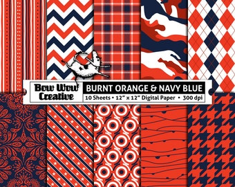 10 burnt orange, navy, digital, scrapbook paper, school colors, team colors, printable, patterns, college, sports, Auburn Tigers, Alabama