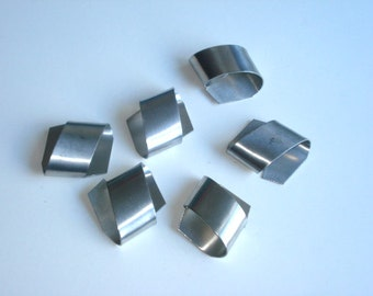 Vintage Pewter Napkin Rings - Retro Servingware - Set of 6 - Seagull Pewter Silver Serviette Holders