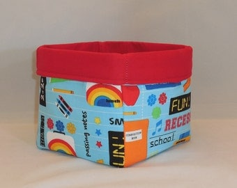 School Themed Fabric Basket For Storage Or Gift Giving